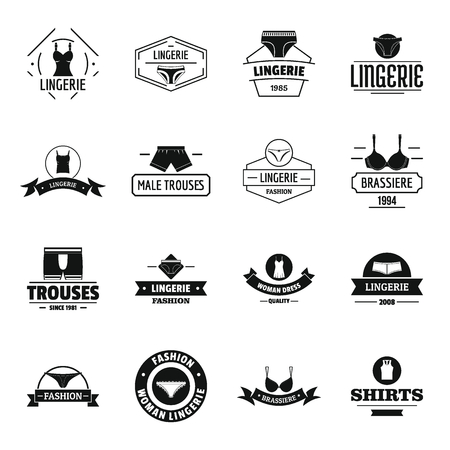 Simple illustration of 16 underwear  vector icons for web