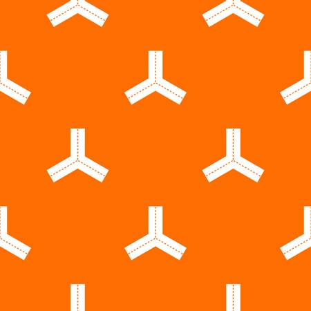 Three roads pattern repeat seamless in orange color for any design. Vector geometric illustration Illustration