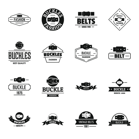 Belt buckle icons set, simple style