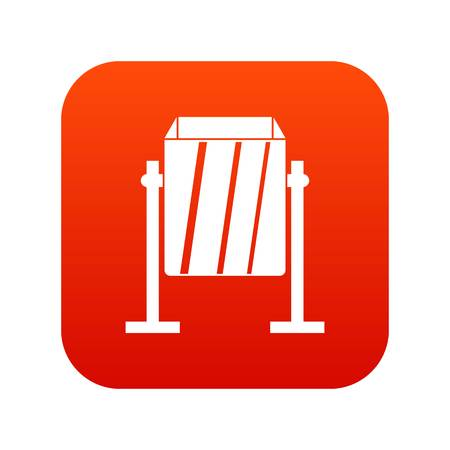 Metal dust bin icon digital red for any design isolated on white vector illustration