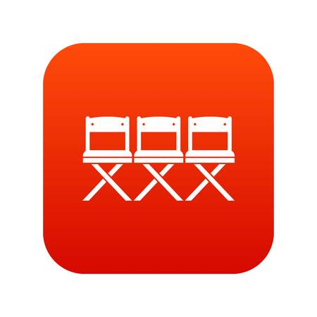 Chairs icon digital red for any design isolated on white vector illustration