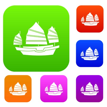 Junk boat set icon color in flat style isolated on white. Collection sings vector illustration Illustration