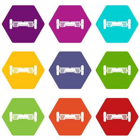 Smart scooter icon set many color hexahedron isolated on white vector illustration Illustration