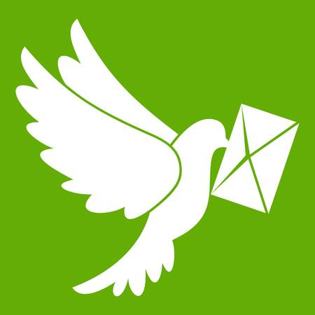 email icon: Dove carrying envelope icon white isolated on green background. Vector illustration