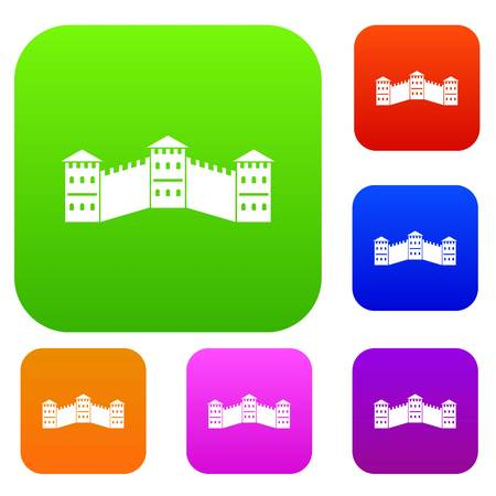 Great Wall of China set icon color in flat style isolated on white. Collection sings vector illustration Illustration