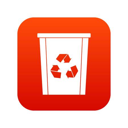 Trash bin with recycle symbol icon digital red for any design isolated on white vector illustration