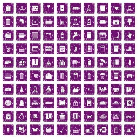 100 상자 아이콘 그런 지 보라색을 설정합니다.