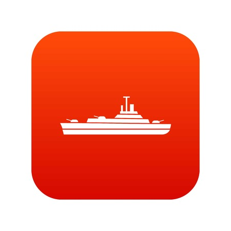 Warship icon digital red for any design isolated on white vector illustration