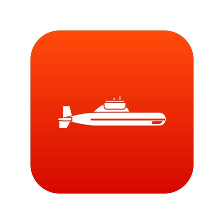 Submarine icon digital red for any design isolated on white vector illustration