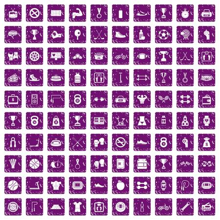 100 boxing icons set in grunge style purple color isolated on white background vector illustration