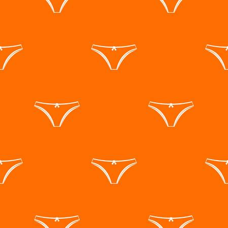 girlish: Panties pattern repeat seamless in orange color for any design. Vector geometric illustration Illustration