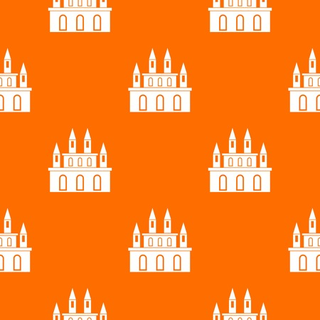 Medieval castle pattern repeat seamless in orange color for any design. Vector geometric illustration