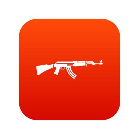 sniper: Military rifle icon digital red for any design isolated on white vector illustration