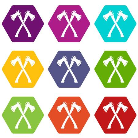 Two crossed axes icon set many color hexahedron isolated on white vector illustration