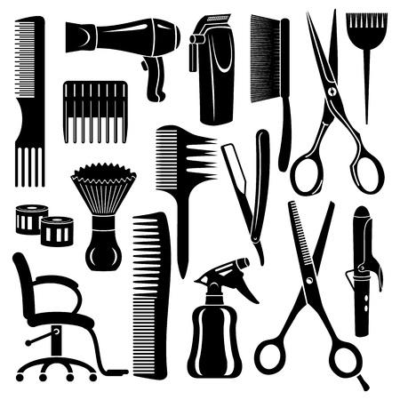 Conjunto de iconos de herramientas de peluquería. Ilustración simple de 16 iconos de vector de herramientas de peluquería para web Ilustración de vector