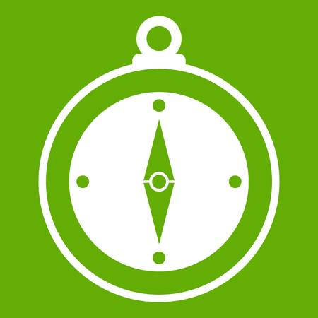 Compass icon white isolated on green background. Vector illustration