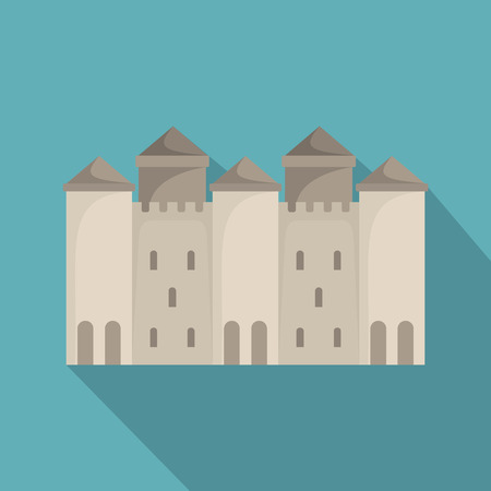 Old castle icon. Flat illustration of old castle vector icon for web