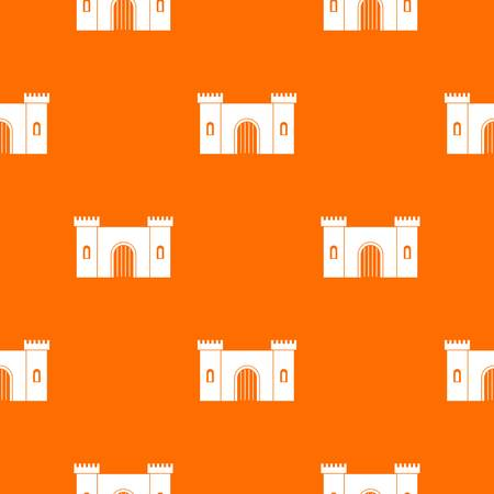 Fortress with gate pattern repeat seamless in orange color for any design. Vector geometric illustration