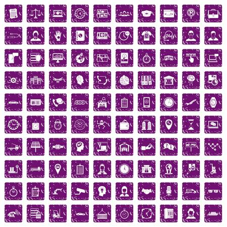 100 working hours icons set in grunge style purple color isolated on white background vector illustration