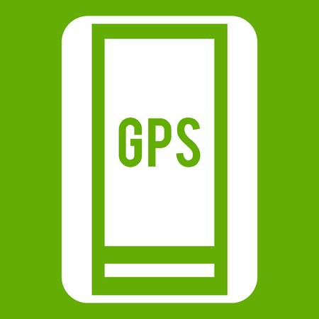 Global Positioning System icon white isolated on green background. Vector illustration Illustration