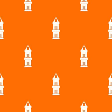 Castle tower pattern repeat seamless in orange color for any design. Vector geometric illustration
