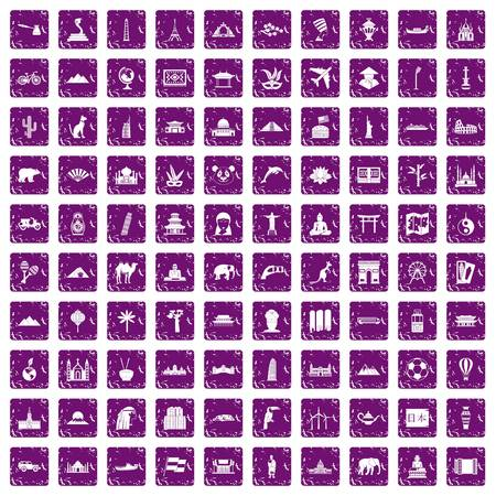tibet: 100 world tour icons set grunge purple Illustration