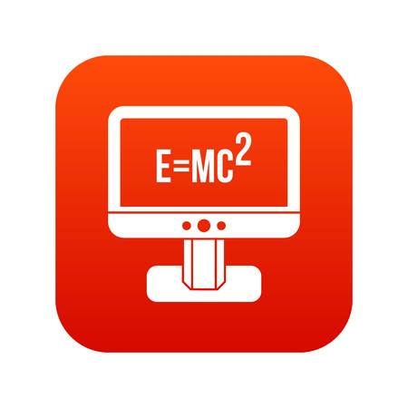 Monitor with Einstein formula icon digital red for any design isolated on white vector illustration