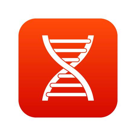 DNA icon digital red for any design isolated on white vector illustration