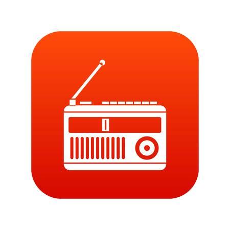 fm: Retro radio icon digital red Illustration