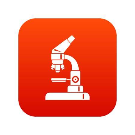 analyze: Microscope icon digital red