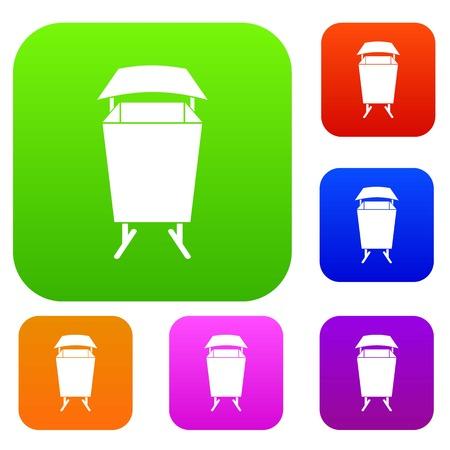 Litter waste bin set color collection