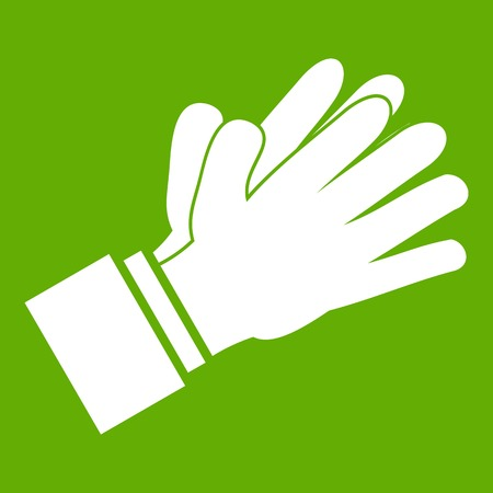 Clapping applauding hands icon green Illustration