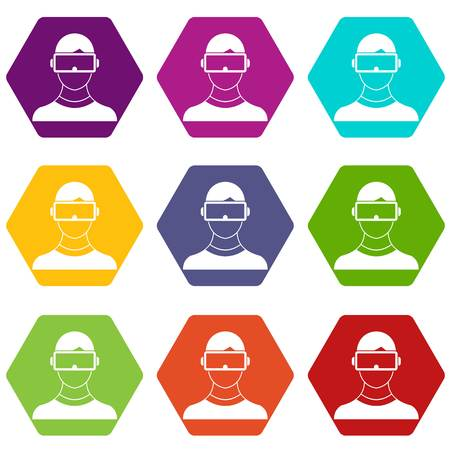 Virtual 3d reality goggles icon set color hexahedron