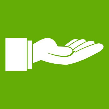 Outstretched hand gesture icon green Illustration