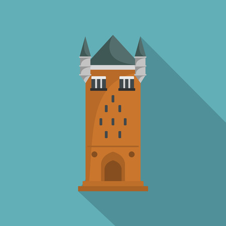 Castle tower icon, flat style Illustration