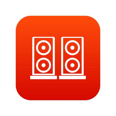 Music speakers icon digital red
