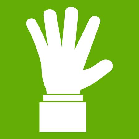 hi five: Hand showing five fingers icon green Illustration