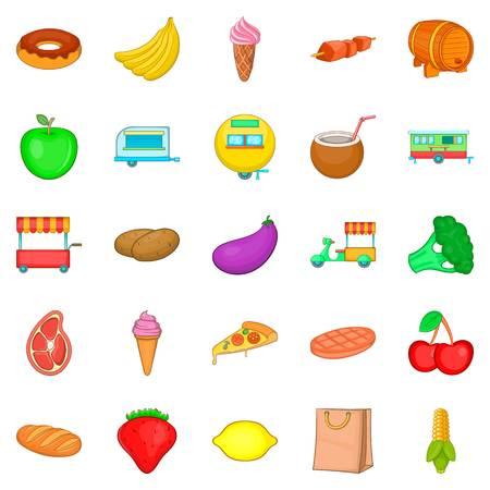 Sideboard icons set, cartoon style Illustration