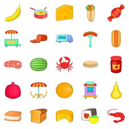 Canteen icons set, cartoon style