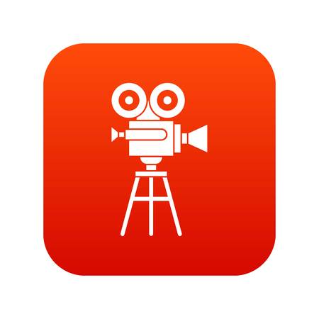Retro film projector icon digital red Illustration