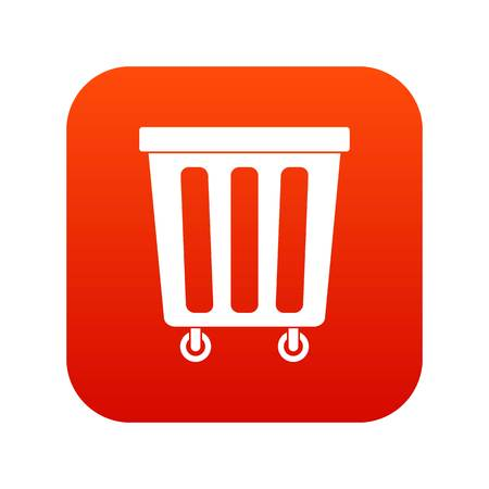 Outdoor plastic trash can icon digital red