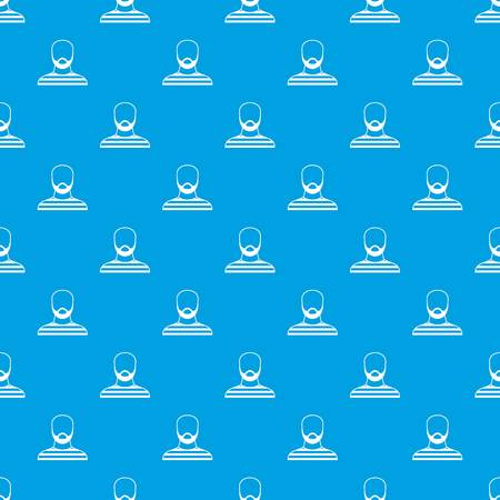 Bearded man in prison garb pattern seamless blue Illustration