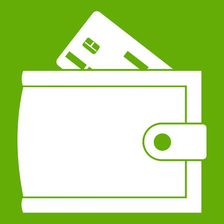 Wallet with credit card and cash icon green