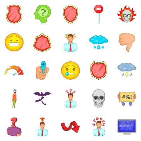 Strain icons set, cartoon style