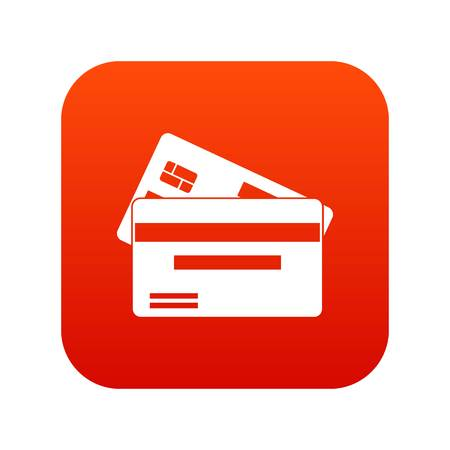 stability: Credit card icon digital red