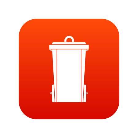 Garbage bin icon digital red