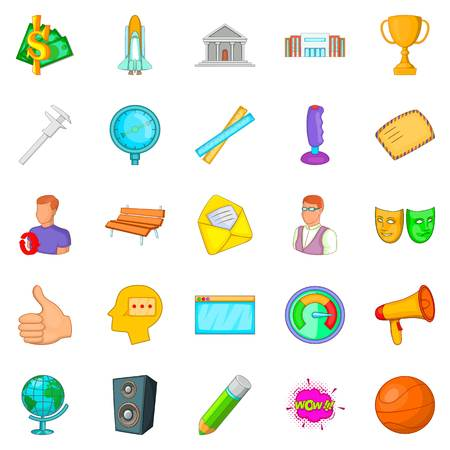 Teaching icons set. Cartoon set of 25 teaching vector icons for web isolated on white background Illustration