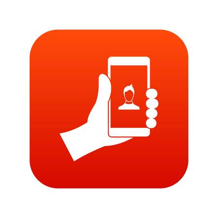 Hand holding smartphone with photo icon digital red