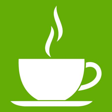 Cup of hot drink icon green Иллюстрация