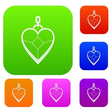 Heart shaped pendant set color collection Ilustrace